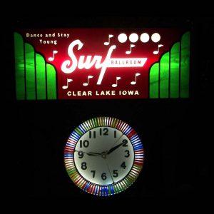 Surf Ballroom Neon Spinner Clock