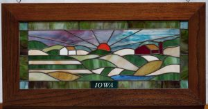 Iowa Farm Scene with Oak Frame