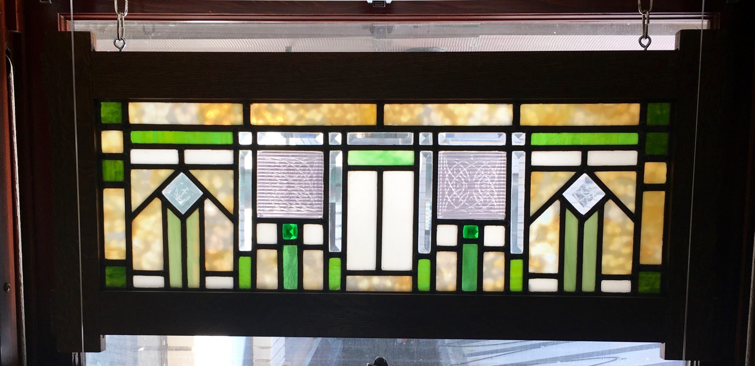 Prairie window with 2 Frank Lloyd Wright Luxfer prism tiles.
